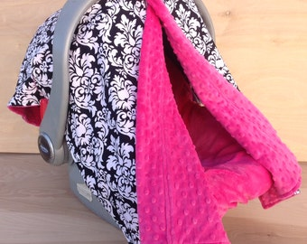 Canopy Tent- Black and White Damask/ Pink