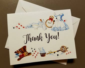 Alice in Wonderland, Thank You Cards, Baby Shower, Bridal Shower, Tea Party, Birthday Party, Watercolor Print, Set of 6 or 12 with Envelopes