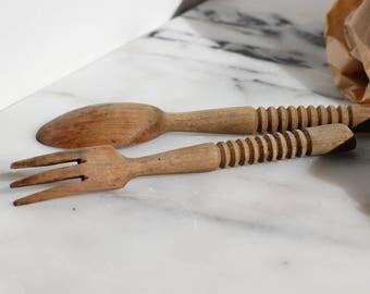 Cuillère et fourchette en bois, couverts en bois, frenchvintage