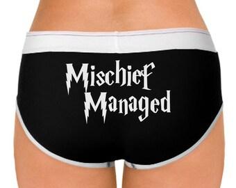 Harry Potter inspired Mischief Managed ladies panties - women's underwear - ladies underwear - Harry Potter underwear - black and white