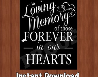 In Loving Memory Sign - Digital - Wedding Decor - Lost Loved Ones - Wedding Memorial Sign - 8x10 - Instant Download - Forever in Our Hearts