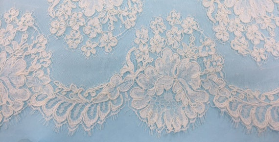 Lace Swatches, French Alencon Lace, Re-embroidered lace , Off-white Lace, Rose Lace,Classic Lace -  JUMP FOR JOY Lace