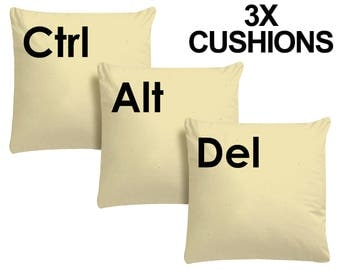 3x Ctrl Alt Del Beige Cushion Keyboard Pillow Geeky Computer Keys Plush Video Game New