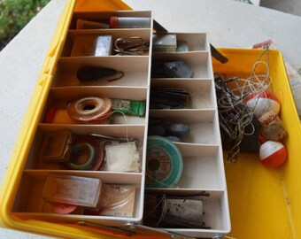 Vintage Plastic Tackle Box with Fishing Accessories and Tackle, Sporting Goods