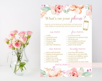 What's on your phone? Floral watercolor printable bridal shower game, printable shower game, phone shower game, INSTANT DOWNLOAD 003