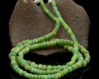 Rare ANCIENT Green Indo-Pacific Trade Glass Bead Strand 14.68 g 100 BC – 500 AD