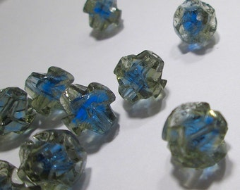 12 Vintage Glass Turbine Beads in Clear over Blue