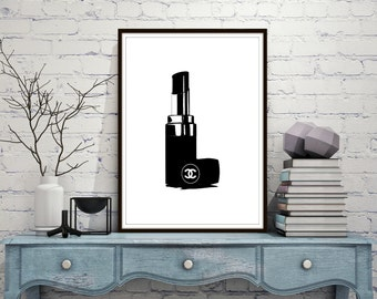 Chanel black and white lipstick print, Makeup printable, lipstick digital art, Fashion wall decor, lipstick wall art *88*