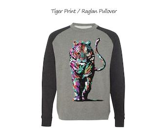 Tiger Raglan Pullover Sweatshirt Unisex Pullover Mens Shirts Womens Shirts Tiger T-shirt  Basebal Raglan Shirt Gift for her Gift for him