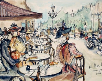 PARIS  CAFE.  Parisian Wall Art. French  old time. Montmartre. Original watercolor painting.
