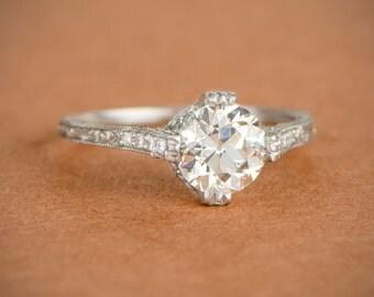Estate Diamond Engagement Ring - 1.17ct Old European Cut Diamond Engagement Ring - Platinum Ring