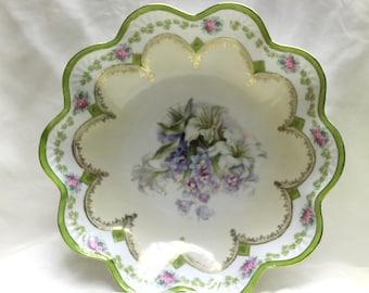 1900-1910 Porcelain Hand Painted 14K Gold Enamel Bowl/Serving Dish