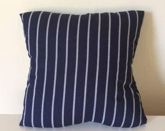 Navy Pillow Cover - 16 x 16 - Navy Cushion Cover - Navy Blue Throw PIllow -  Nautical Stripes