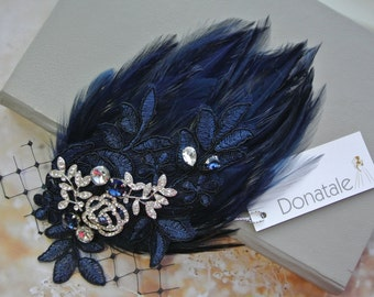 Navy Blue Wedding Hair Clip- Wedding Fascinator -Feather Hair Clip - Hair Piece- 1920s Headpiece- Feather headband Mother of the bride -IVY