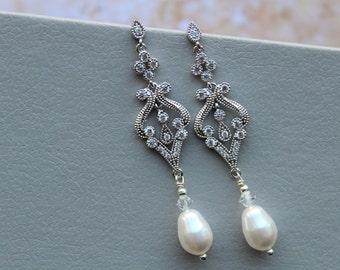 Art Deco Wedding Great Gatsby earrings  Bridal Earrings  Bridal Jewelry  Wedding Earrings  Pearl Drop Earrings Pearl Teardrop Earrings