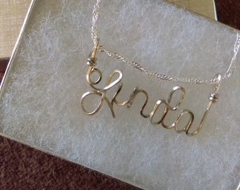 LINDA or ANY name handmade sterling silver wire name, tween gift, teen gift , personalized gift, sterling silver