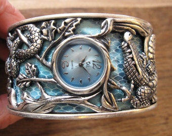 "Vintage Silver Tone Carlos Falchi Garden of Eden Animal Snake Leaf Bracelet Watch 9-10"" (291)"