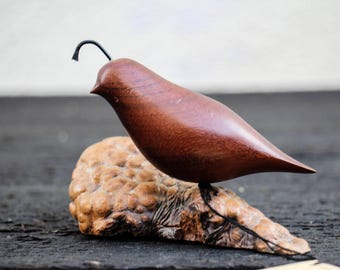 Vintage Miles Greer Carved Quail Bird Sculpture / Statue Driftwood Base Retro