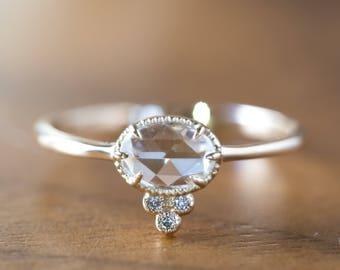 Rose cut diamond engagement ring in 14k yellow gold, Unique rose cut diamond ring, Antique inspired rose cut diamond ring, ado-r106-dia