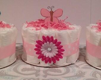 Set of 3 Bug Diaper Cakes, Baby Girl Diaper Cake, Baby Shower Centerpiece, Girl Diaper Cake, Baby Shower Gift, Diaper Cake