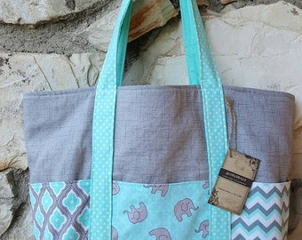 Gray and Aqua Diaper bag, boys diaper bag, Diaper tote bag. Create your own diaper bag. Diaper tote bag.