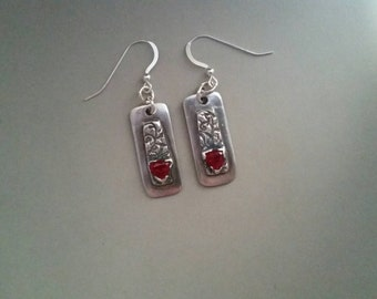 PMC3 fine silver earrings. Garnet cz