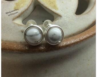 Howlite Wire Wrapped Stud Earrings Handmade Howlite Genuine Gemstone Earrings Howlite Earrings Howlite Studs White Studs Black Studs Mono