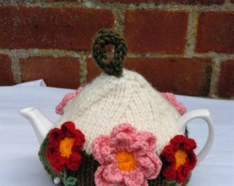 Hand Knitted Flower Tea Cosy 1 - 2 Cup Small