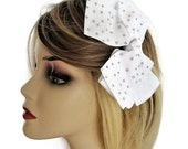 Beautiful Big Sparkly Bow Hair Clip Grip in White with AB Diamante 12 cms