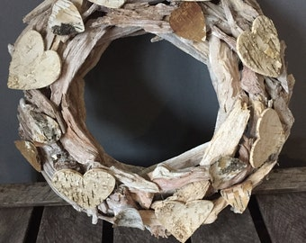 Summer wreath, Driftwood door wreath with hearts, All year round wreath, Rustic wreath, Door decot, Natural wreath