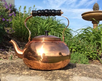 Vintage Copper Teapot with Black Wood Handle, Rustic, Mid Century, French Country, Farmhouse, Cottage