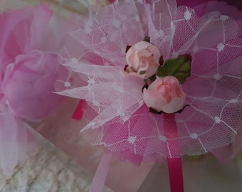 BOMBONIERE CRAFTING KIT makes 50 favors organza nets flowers & ribbon for sugared almonds or bonbons for wedding christening christmas