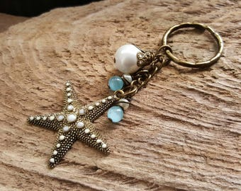 Starfish Charm Keyring, Beaded Key Ring, Bronze Key Chain