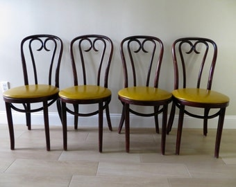 Vintage Bentwood Thonet Style Chair - Bistro Cafe Chairs - Dining Chairs - Vinyl Seats (3 Available)