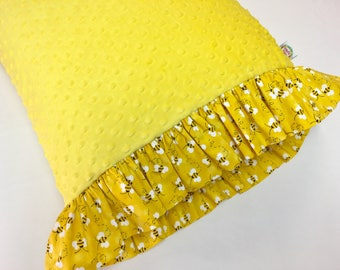 Yellow Pillowcase made with Yellow Minky Dot and White Swiss Dot Ruffles