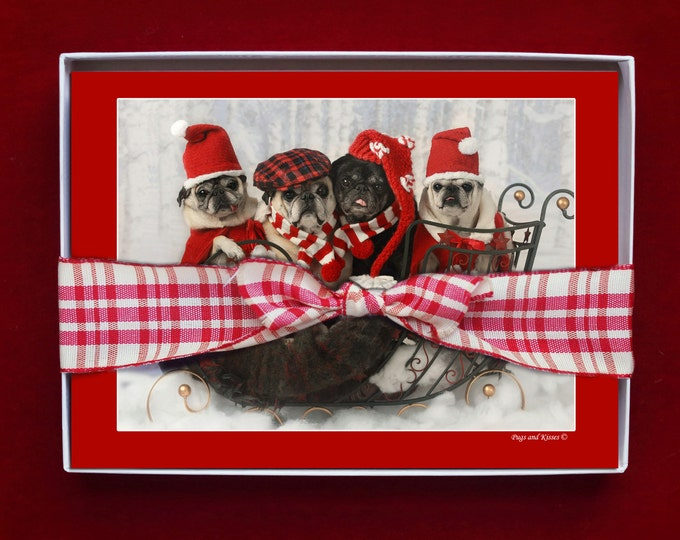 BOXED HOLIDAY Cards - Pug Holiday Cards - 5x7 -  Sleigh Full of Pug Love