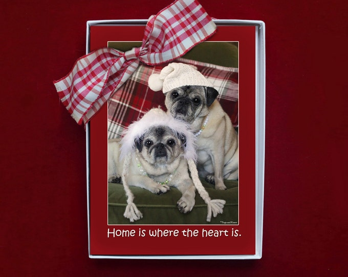 BOXED HOLIDAY Cards - 5x7 - Pug Holiday Cards - Home is Where the Heart Is