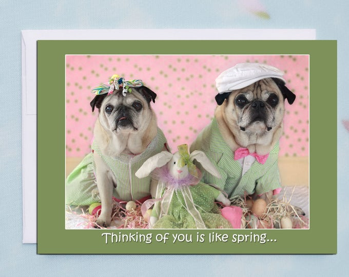 Thinking of You 5x7 Pug Easter Card by Pugs and Kisses