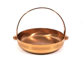 Vintage Copper Art Deco Candy Dish Basket by Chase Copper, Nut Tray with Handle
