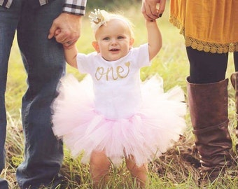 First Birthday Tutu Outfit - One Outfit - One Cake Topper - Pink and Gold - Tutu - Glitter - Gold Cake Topper - 1st Birthday - Cake Smash