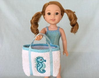 Blue Sparkly Bathing Suit and Seahorse Beach Bag for Wellie Wisher/14.5 Inch Doll