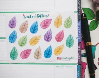 Colourful leaves - decorative watercolour planner stickers suitable for any planner -368-