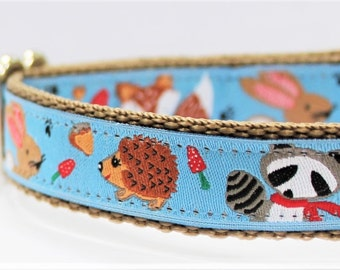 Forest Friends Dog Collar/Adjustable/Pet Collar/Woodland/Nature