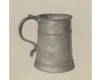 Pewter Mug, Graphite Drawing, American Design Illustration Print