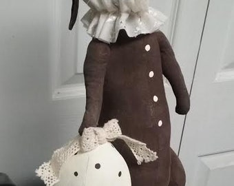 Primitive Bunny Rabbit Doll with Easter Egg