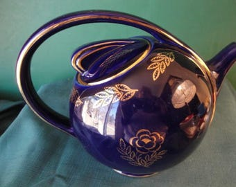 Vintage Hall China Airflow Teapot Cobalt Blue Standard Gold Roses And Leaves, Art Deco #0443