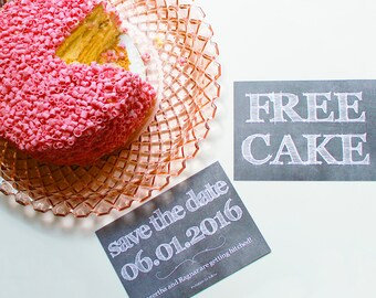 Funny Save The Date Cards / Free Cake