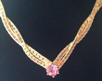On Sale Gold Pink Lavender Rhinestone Necklace Formal Necklace Costume Jewelry