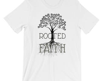 Christian T Shirts Rooted In Faith '14 - Christian Clothing - Jesus Shirt - Christian Apparel - Christian Gifts - Gift for Men