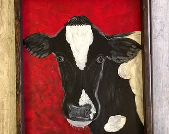 Cow Painting- Black and White Cow- Holstein Cow Art- Black and White Art- Cow- Cow Decor- Cow Art- Acrylic Cow Painting- Farmhouse Deco